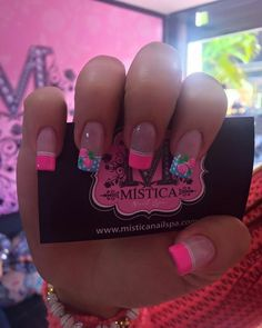 41 trendy ideas for nails french tip coffin nailart Bright Nails, Purple Nails, Bling Nails, Matte Nails, Stiletto Nails, Coffin Nails, Gel Nails, Pink Nail Designs, French Tip Nails