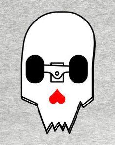 Broken skateboard skull