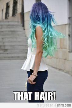 mermaid blue ombre hair! waves of curls!