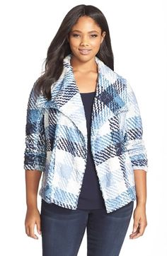 Plus Size Plaid Tweed Jacket