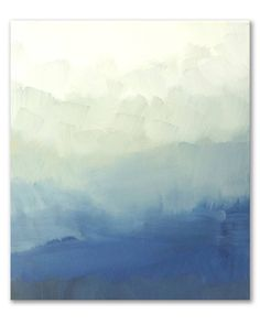 Blue Ombre Abstract, a Acrylic on Canvas by Nicolette Capuano from United States. It portrays: Abstract, relevant to: blue, white, blue modern, green, landscape, blue ombre, blue minimalist, blue abstract, navy, ocean I seek to create pieces that elevate a room with color and shape.