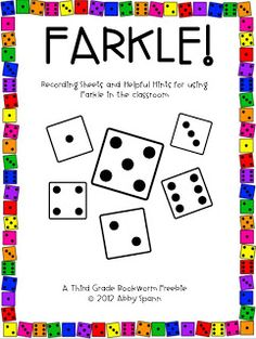 A game to play in the classroom...printable game sheets and directions.  Need dice.