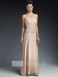 Light Champange Satin/Chiffon/Lace Halter Ruffle Column Floor Length Mother  Of The. Wedding Dresses ...