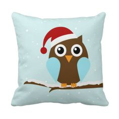 Cute Christmas Owl Throw Pillows #kawaii #cute