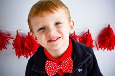 Handmade red with white polka dots Boys bow tie