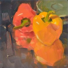 """Daily Paintworks - """"Reflecting on Peppers"""" by Carol Marine, she used foil underneath the peppers to create reflection for her painting!"""