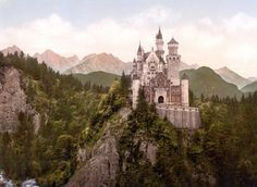"""Neuschwanstein Castle- the town of Füssen in Bavaria, Germany. Seven weeks after the death of King Ludwig II in 1886, Neuschwanstein was opened to the public. The shy king had built the castle in order to withdraw from public life. Ironically, today- Neuschwanstein is one of the most popular of all the palaces and castles in Europe. Every year 1.3 million people visit """"the castle of the fairy-tale king""""."""