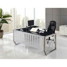 Mesa de oficina BELÉM, mueble ala auxiliar, cristal negro 160x80 cms