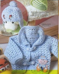 Friendly See how beautiful crochet cardigan and hat crochet aviator and graphic. Crochet Bebe, Baby Girl Crochet, Crochet Baby Clothes, Crochet For Boys, Baby Patterns, Crochet Patterns, Crochet Designs, Crochet Jacket, Baby Cardigan