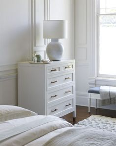 With a fresh white gloss and hand-forged brass detailing, this dresser brings sophistication to any bedroom. Coastal Bedrooms, Coastal Living Rooms, Living Room Green, Coastal Cottage, Coastal Decor, Coastal Curtains, Coastal Entryway, Coastal Rugs, Coastal Bedding