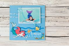 Disney The Little Mermaid scrapbook page layout. Make It Now with the Cricut Explore machine in Cricut Design Space.