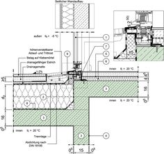 Detail сторінка - Дизайн Атлас будівництво - зовнішня стіна зі звичайного бетону з тепловою ізоляцією системи - лоджіями, еркерами, двориками, проходами, консольним підвал - нижнє з'єднання по висхідній стіні - вікна / двері, доступний зв'язок тераси зі зміщенням -