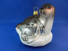 Gray Seal with Pup blown glass Christmas ornament. Made in Poland for Vintage Treasures Ornaments.