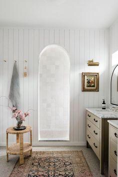 Penny Tile, Modern Cottage, White Furniture, Grey Walls, Tile Design, Furniture Making, Design Trends, Design Ideas, Design Inspiration