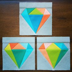 Gemology Quilt Block Diamond Paper Pieced by SarahRoseQuilts