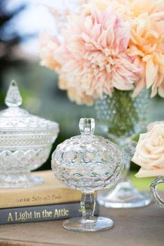 vintage crystal... bowl on candlestick idea ~!~