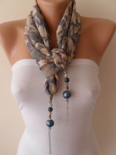 Blue Gray and Beige - Jewelry Scarf - Chiffon Fabric with Beads and Chain