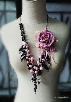 Necklace stone&Fabric flower by #AidaBrooch