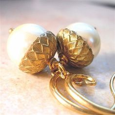 Ivory Pearl Acorn Earrings with Gold Vermeil
