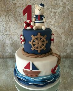 Sailor Party: Über 50 Ideen - Inspirieren Sie Ihre Party ®, The Effective Pictures We Offer You About Boats kids A quality picture can tell you many things. Baby Shower Cakes, Baby Cakes, Sea Cakes, Cupcake Cakes, Nautical Birthday Cakes, Baby Boy 1st Birthday Party, Nautical Cake, Baby Birthday Cakes, Nautical Theme