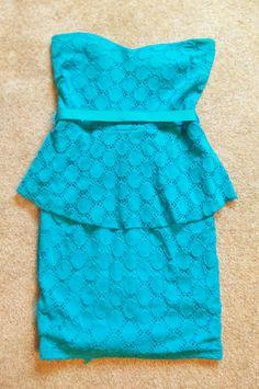 Marshmallow Aqua Strapless Dress Size Medium Sexy Dress Lace Dress Made in USA #Marshmallow #StretchBodycon #Cocktail