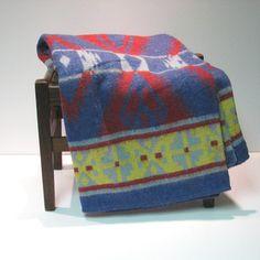 Vintage Indian Camp Blanket  Red Blue Yellow by VintageCreekside, $30.00