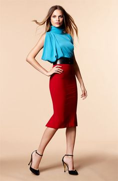 Diane von Furstenberg Silk Blouse & Pencil Skirt     Not sure about the top on me but I love the red skirt! =)