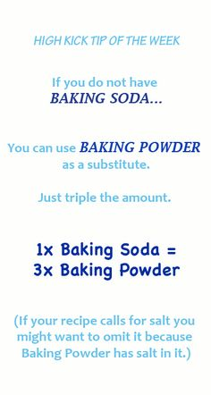 Good Tip! If you're out of baking soda, you can use baking powder. The conversion chart shows the ratio,