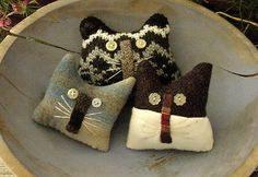 Primitive Kitty Cat Bowl Fillers Drawer Dwellers Ornies