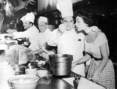 Elizabeth Taylor tries the daily special at the M-G-M commissary