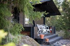 outdoor sauna... love dark wood against green