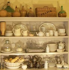 stenciled basket, love open shelving concept