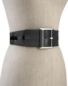 White House | Black Market Patent/Snake-Embossed Reversible Belt #whbm
