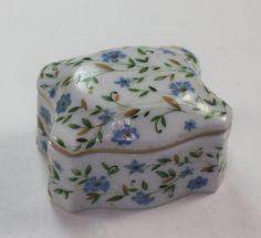 Porcelain Trinket Box Cornflowers Blue Flowers by PastSplendors