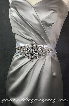 7f12bcfcfa Large sparkling bridal applique - glass rhinestones and crystals. Wedding  Dress Sash
