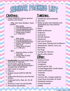 Mary Kay Seminar Packing List! Feel free to share with your unit!
