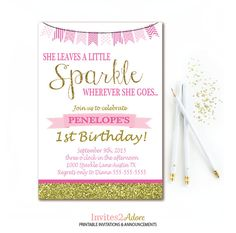 Pink and Gold Birthday Invitation She Leaves A by Invites2Adore