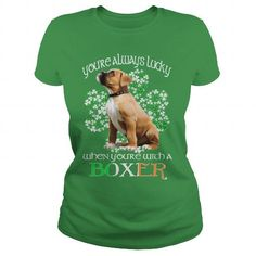I Love Boxer Saint Patrick's Day Lucky With A Boxer Dog Shirts & Tees
