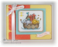 handmade baby card ... Noah's ark with cute animals ... yellow and orange base ... Stampin' Up!