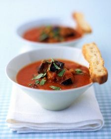 Roasting the tomatoes and eggplant deepens the flavor of this vegetarian soup (with chickpeas for protein!).