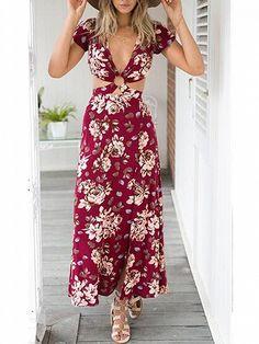 Polychrome Floral Plunge V-neck Open Back Split Maxi Dress