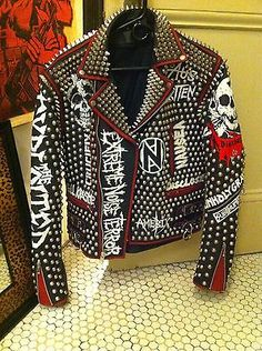 Vintage Studded Punk Leather Jacket Doom Crass Conflict Subhumans Discharge