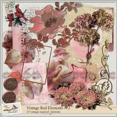Vintage Red Elements V2 by Aria Lynne