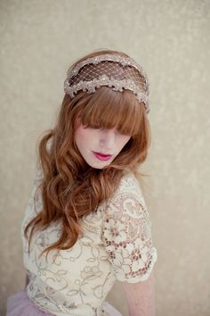 Bridal headpiece, beaded headband, bridal headband, wedding head piece, veil,  Angie Ships in 1 Month