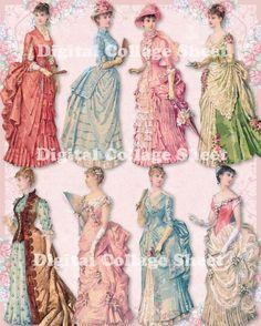 Bustle Dresses 04 vintage ladies ATC ACEO by SistersScrapbooking