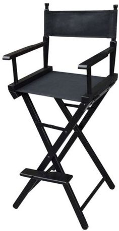 New Professional Foldable Makeup Artist Directors Wood Chair Light Weight Black - Makeup