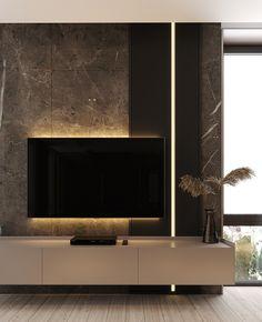 Suit on Behance unit design modern living luxury Modern Tv Room, Modern Tv Wall Units, Modern Living, Minimalist Living, Modern Tv Unit Designs, Living Room Tv Unit Designs, Bedroom Tv Unit Design, Wall Unit Designs, Tv Unit Interior Design