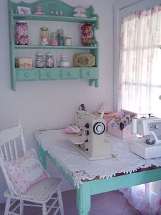 Sewing table, sewing nook, sewing room decor, my sewing room, sewing Sewing Nook, Sewing Room Decor, Sewing Spaces, Sewing Room Organization, My Sewing Room, Craft Room Storage, Organization Ideas, Sewing Studio, Storage Ideas