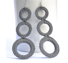 Earrings Crochet  Grey  Crochet Fashion
