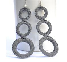 Earrings Crochet  Grey  Crochet Fashion